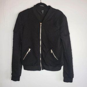 Fate Ruched Black Bomber Jacket Full Zip Pockets L